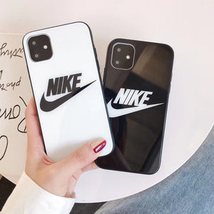 Nike Style Tempered Glass Designer iPhone Case For iPhone 12 SE 11 Pro Max X XS Max XR 7 8 Plus - Casememe.com