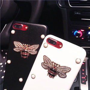 GC Style Pearl Rhinestone Honeybee Luxury Leather Designer iPhone Case For iPhone X XS XS Max XR - Casememe.com