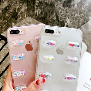Cute 3D Capsule Pills Transparent Silicone Airbag iPhone Case For iPhone X  XS  XS Max XR - Casememe.com