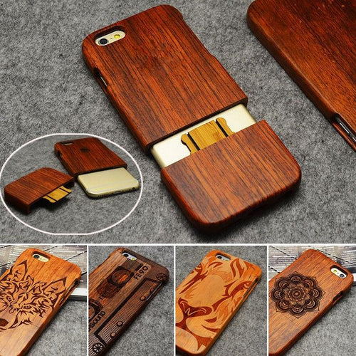 Wooden iPhone Case 100% Handmade Natural Real Wood Bamboo Hard Case for iPhone X XR XS MAX - Casememe