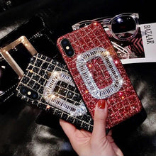 Load image into Gallery viewer, Luxury Roger Vivier Style Diamond Ring Glitter Bling Leather Designer iPhone Case For iPhone X 7 7 Plus 8 8 Plus - Casememe.com