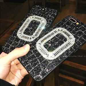 Luxury Roger Vivier Style Diamond Ring Glitter Bling Leather Designer iPhone Case For iPhone X 7 7 Plus 8 8 Plus - Casememe.com