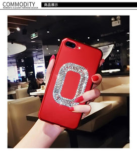 Roger Vivier Style Rhinestone Luxury Bling Diamond Square Carbon Fiber Designer iPhone Case For iPhone X XS XS Max XR 7 8 Plus - Casememe.com