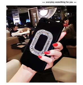 Roger Vivier Style Rhinestone Luxury Bling Diamond Square Carbon Fiber Designer iPhone Case For iPhone SE 11 PRO MAX X XS XS Max XR 7 8 Plus - Casememe.com