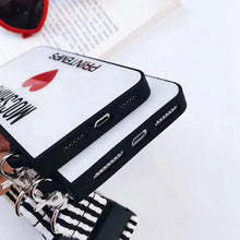 Load image into Gallery viewer, Moschino Style Tempered Glass Luxury Designer iPhone Case With Lanyard For iPhone X XS XS Max XR 7 8 Plus - Casememe.com