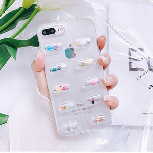 Cute 3D Capsule Pills Transparent Silicone Airbag iPhone Case For iPhone SE 11 PRO MAX X  XS  XS Max XR - Casememe.com