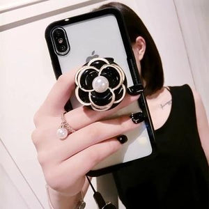 Luxury Pearl Flower Airbag Pop Socket Transparent Case For iPhone SE 11 PRO MAX X / XS / XS Max / XR - Casememe.com