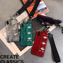 Load image into Gallery viewer, Luxury 3D GC Style Pearl Bee Leather Designer iPhone Case With Wristband Strap Lanyard For iPhone SE 11 PRO MAX X XS XR XS Max - Casememe.com