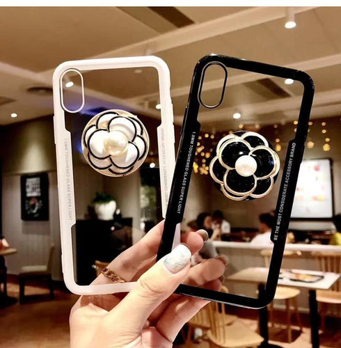 Luxury Pearl Flower Airbag Pop Socket Transparent Case For iPhone X / XS / XS Max / XR - Casememe.com
