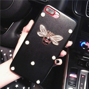 Gucci Style Pearl Rhinestone Honeybee Luxury Leather Designer iPhone Case For iPhone X XS XS Max XR - Casememe.com