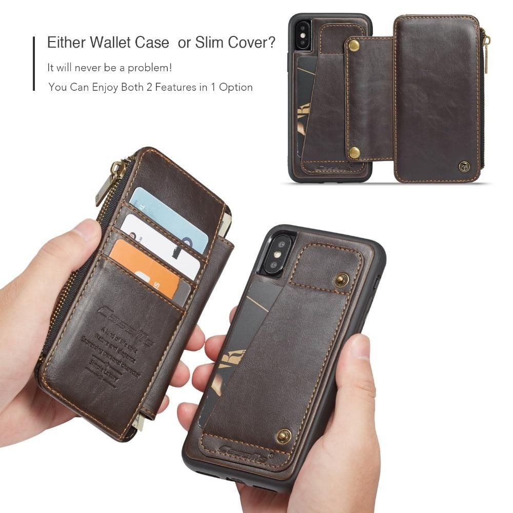 innovative design 5acad 544e6 Zipper Pocket Credit Card Slots Detachable Kickstand Genuine Leather Wallet  Shockproof Case for iPhone X XS MAX X XR 7 8 plus Case