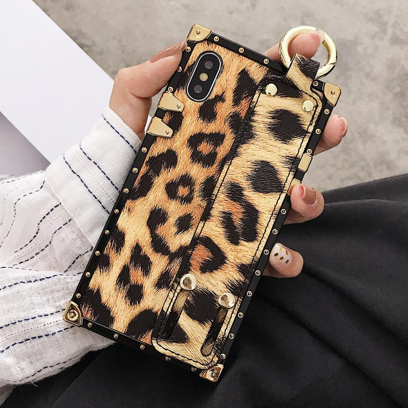 Luxury Fashion Trunk Box Pink Leopard Rose Leather Designer iPhone Case With Strap Wristband For iPhone SE 11 PRO MAX X XS XR XS Max - Casememe.com