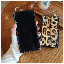 Load image into Gallery viewer, Luxury Fashion Trunk Box Pink Leopard Rose Leather Designer iPhone Case With Strap Wristband For iPhone X XS XR XS Max - Casememe.com