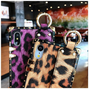 Luxury Fashion Trunk Box Pink Leopard Rose Leather Designer iPhone Case With Strap Wristband For iPhone X XS XR XS Max - Casememe.com