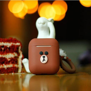 LINE FRIENDS Style Cute AirPods Silicone TPU Protective Case With Ring Holder For Apple Airpods 1 & 2 - Casememe.com