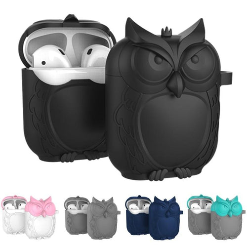 Cute Owl AirPods Silicone Shockproof Waterproof Protective Cover Case For Apple AirPods 1 & 2 - Casememe.com