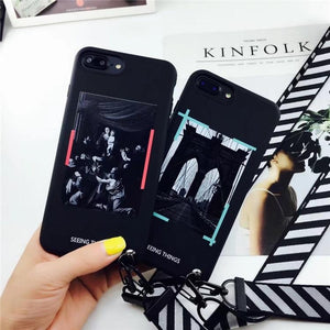 6161c1c7685612 OFF WHITE OW Style Trendy Stripe Silicone Designer iPhone Case With Lanyard  For iPhone X XS XS Max XR 7 8 Plus
