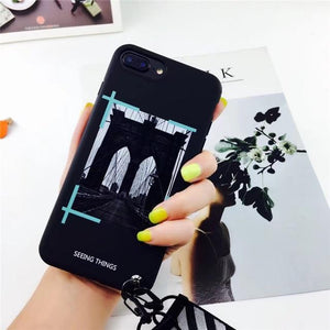 OFF WHITE OW Style Trendy Stripe Silicone Designer iPhone Case With Lanyard For iPhone X XS XS Max XR 7 8 Plus - Casememe.com