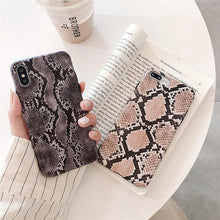 Load image into Gallery viewer, MORE SELECTIONS Luxury Vintage Snake Skin Leather Shockproof Airbag Designer iPhone Case  For iPhone X  XS  XS Max XR - Casememe.com