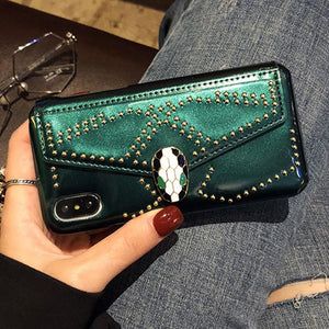 Bvlgari Style Luxury Snake Head Leather Studs Metal Buckle Wallet Purse Designer iPhone Case For iPhone X - Casememe.com