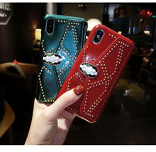 Load image into Gallery viewer, Bvlgari Style Luxury Snake Head Leather Studs Metal Buckle Wallet Purse Designer iPhone Case For iPhone SE 11 PRO MAX X - Casememe.com