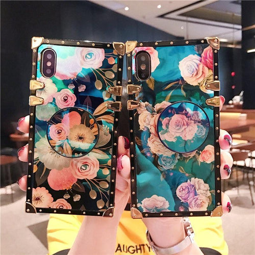Luxury Blue Ray Floral Peony Rose Trunk Tempered Glass Perfume Box Designer iPhone Case With Pop Socket For iPhone SE 11 PRO MAX X XS XS Max XR - Casememe.com