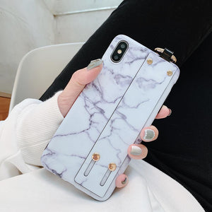 Modern Hand Strap Marble Painted Designer Bumper iPhone Case for iPhone XS Max XR X 7 8 Plus - Casememe.com