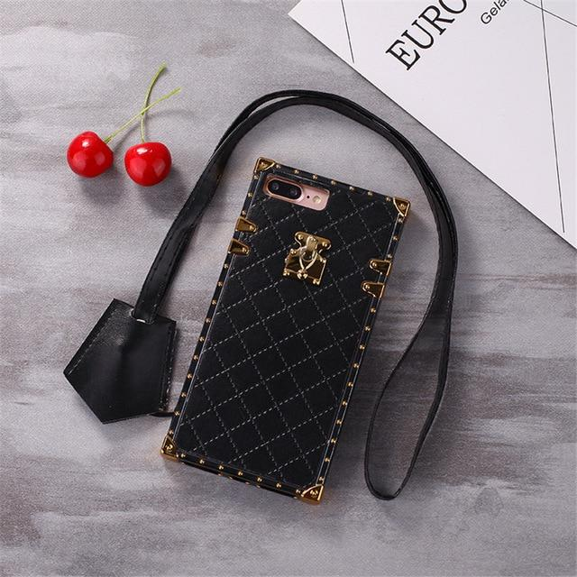 Luxury Golden Vintage Perfume Trunk Fashion Leather Designer iPhone Cases For iPhone X XS XS Max XR - Casememe.com