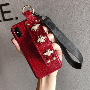 Luxury 3D GC Style Pearl Bee Leather Designer iPhone Case With Wristband Strap Lanyard For iPhone SE 11 PRO MAX X XS XR XS Max - Casememe.com