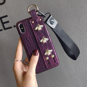 Luxury 3D Gucci Style Pearl Bee Leather Designer iPhone Case With Wristband Strap Lanyard For iPhone X XS XR XS Max - Casememe.com