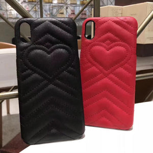 Fashion Luxury GC Style Soft Leather Airbag Protective iPhone Case Heart For iPhone X  XS  XS Max XR - Casememe.com