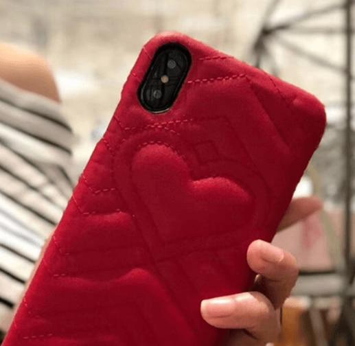 Fashion Luxury Gucci Style Soft Leather Airbag Protective iPhone Case Heart For iPhone X  XS  XS Max XR - Casememe.com