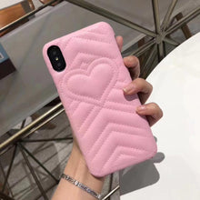 Load image into Gallery viewer, Fashion Luxury Gucci Style Soft Leather Airbag Protective iPhone Case Heart For iPhone X  XS  XS Max XR - Casememe.com