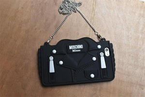 Moschino Style Black Jacket Zipper Purse Silicone Designer iPhone Case For iPhone SE 11 PRO MAX X XS XS Max XR 7 8 Plus - Casememe.com
