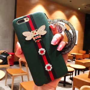 Fashion GC Style 3D Bee Stripe Leather Shockproof Designer iPhone Case With Glitter Lanyard For iPhone SE 11 PRO MAX X XS XS Max XR - Casememe.com