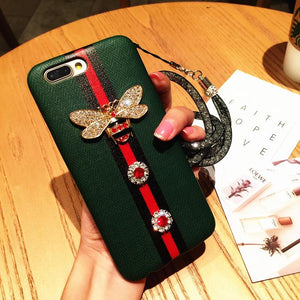 Fashion Gucci Style 3D Bee Stripe Leather Shockproof Designer iPhone Case With Glitter Lanyard For iPhone X XS XS Max XR - Casememe.com