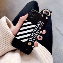 Load image into Gallery viewer, Luxury Off White OW Style Soft TPU SIlicone Designer iPhone Case With Leather Wristband For iPhone SE 11 PRO MAX X XS XS Max XR - Casememe.com