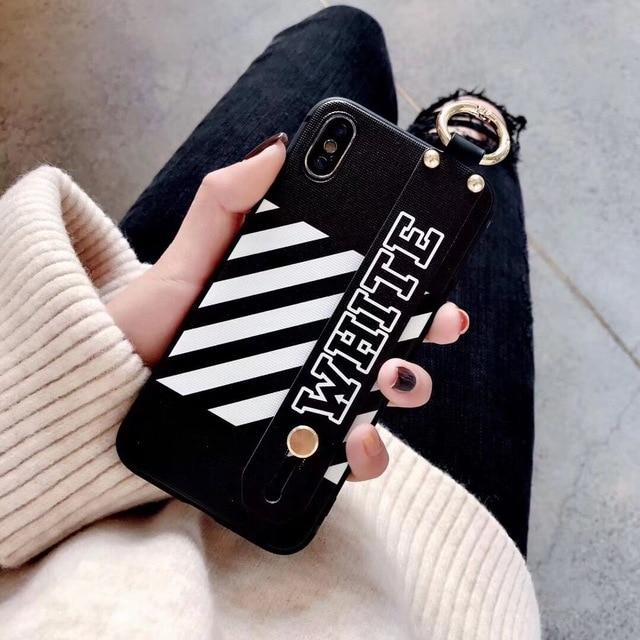Luxury Off White OW Style Soft TPU SIlicone Designer iPhone Case With Leather Wristband For iPhone SE 11 PRO MAX X XS XS Max XR - Casememe.com