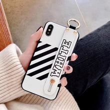 Load image into Gallery viewer, Luxury Off White OW Style Soft TPU SIlicone Designer iPhone Case With Leather Wristband For iPhone X XS XS Max XR - Casememe.com