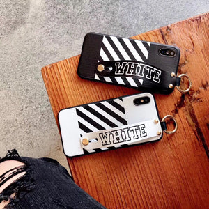 Luxury Off White OW Style Soft TPU SIlicone Designer iPhone Case With Leather Wristband For iPhone X XS XS Max XR - Casememe.com