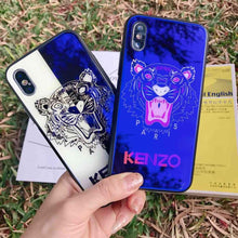 Load image into Gallery viewer, Luxury Fashion Kenzo Style Blue Ray Light Tiger Tempered Glass Designer iPhone Case For iPhone X XS XS Max XR - Casememe.com