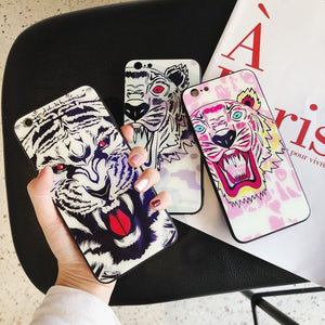 Luxury Fashion Kenzo Style Blue Ray Light Tiger Tempered Glass Designer iPhone Case For iPhone X XS XS Max XR - Casememe.com