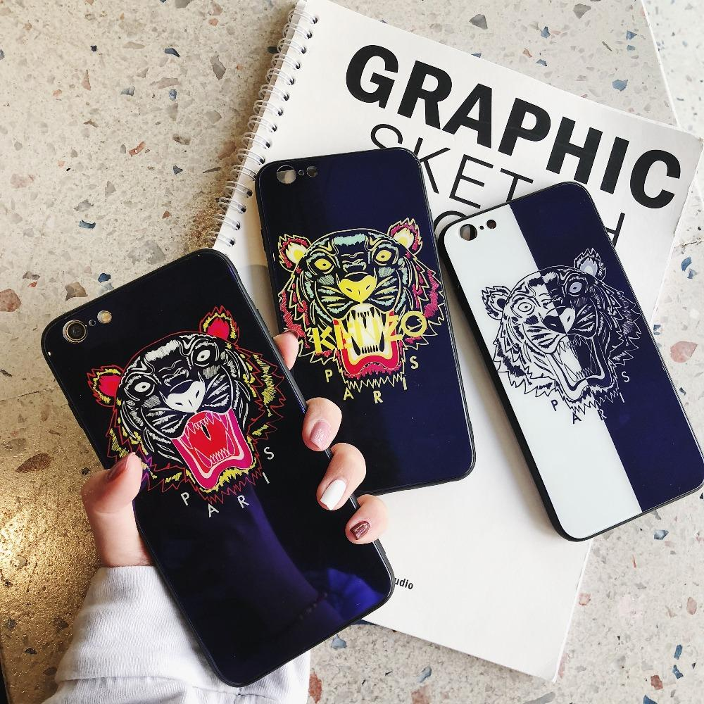 buy online d7148 5fe07 Luxury Fashion Kenzo Style Blue Ray Light Tiger Tempered Glass Designer  iPhone Case For iPhone X XS XS Max XR