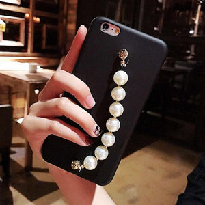 Luxury Pearl Hand Strap Carbon Fiber Ultra Thin Designer iPhone Case For iPhone X XS XS Max XR - Casememe.com