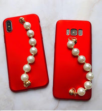 Load image into Gallery viewer, Luxury Pearl Hand Strap Carbon Fiber Ultra Thin Designer iPhone Case For iPhone X XS XS Max XR - Casememe.com