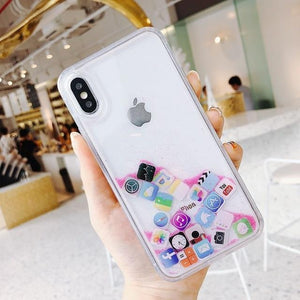 Modern Apple Style App Icon Gold Silver Glitter Quicksand Silicone Designer iPhone Case For iPhone X XS XR XS Max - Casememe.com