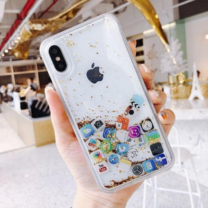 Modern Apple Style App Icon Gold Silver Glitter Quicksand Silicone Designer iPhone Case For iPhone SE 11 PRO MAX X XS XR XS Max - Casememe.com