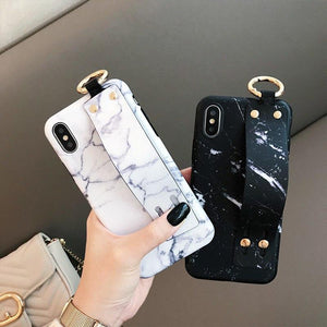 Modern Hand Strap Marble Painted Designer Bumper iPhone Case for iPhone SE 11 PRO MAX XS Max XR X 7 8 Plus - Casememe.com