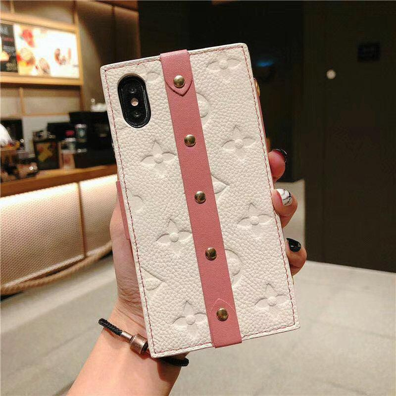 buy popular c6975 fe7dd Box Luxury Leather 100% Handmade Gold Metal Lock Card Holder Wallet Bumper  Classic Designer iPhone Case For iPhone X XS XS Max XR