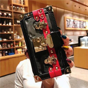 Box Luxury Leather 100% Handmade Gold Metal Lock Card Holder Wallet Bumper Classic Designer iPhone Case For iPhone SE 11 PRO MAX X XS XS Max XR - Casememe.com